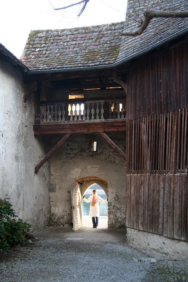Me in a Hobbit door. Apparently I am the size of a Hobbit.
