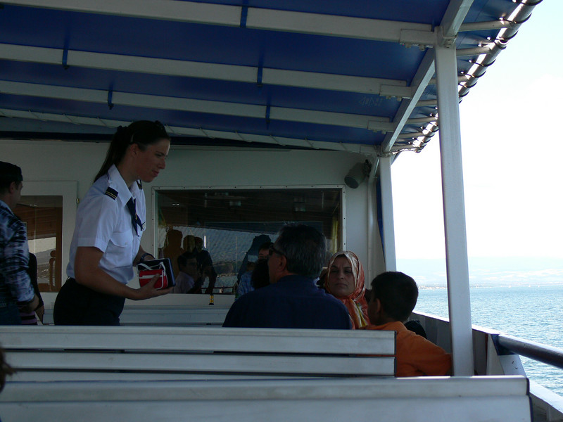 The ticket lady on the boat