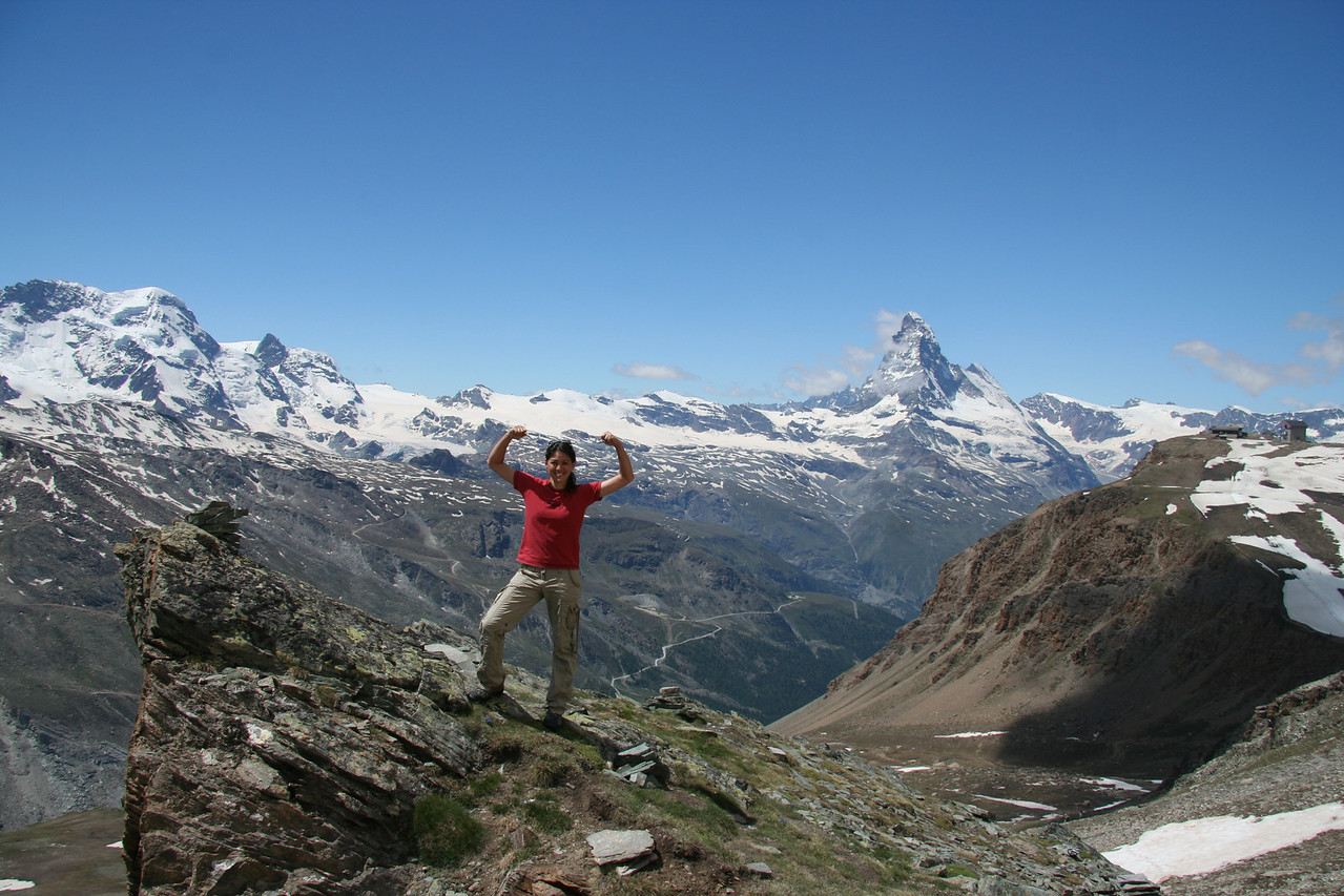 Halfway up Oberrothorn, I think I'm pretty cool. Little do I know that I haven't gotten to the hard part yet.