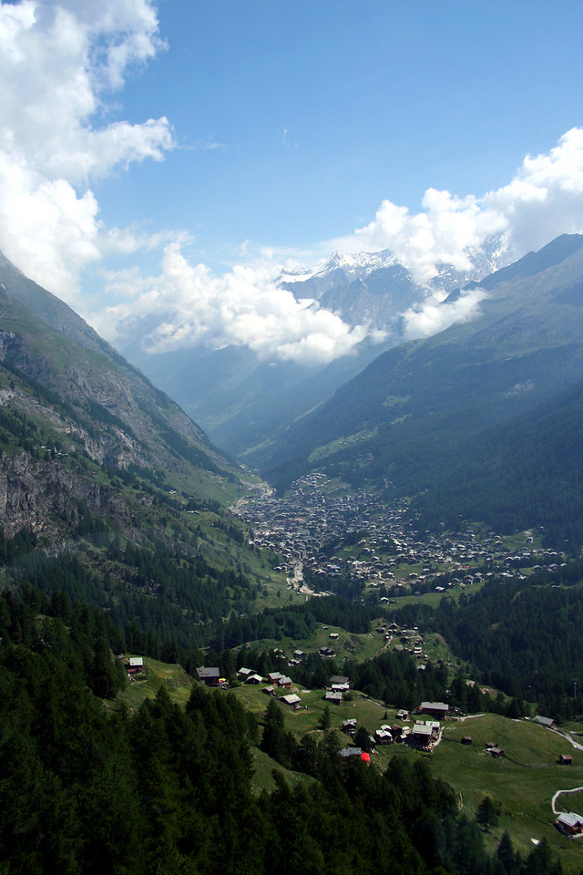 Zermatt as seen from the ride up the gondola.