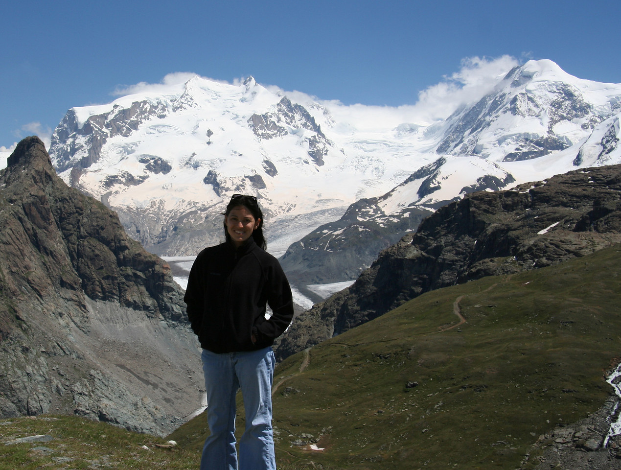 Another view of Dufourspitze and me. Too bad I can't put my arm around it.