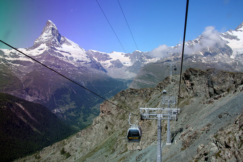 Looking out the back window as my gondola climbs towards Blauherd. Pretty cool, because the gondolas didn't just go up - they also went down into huge gorges and then back up over peaks.