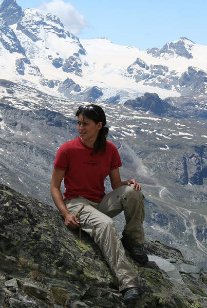 Taking a break on the hike up Oberrothorn. That is not a photo studio backdrop, though it sure looks like one.