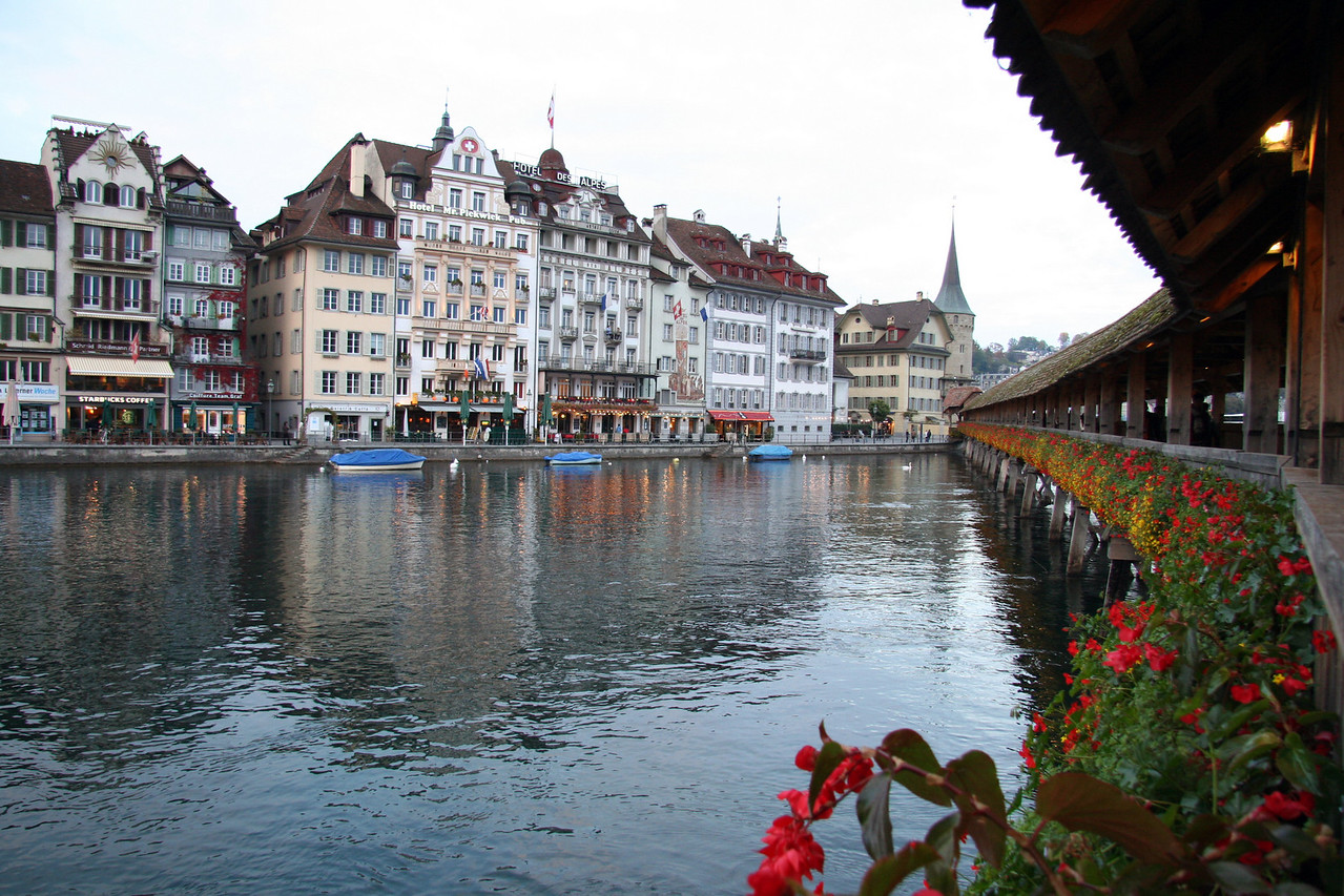 View of shops along the river from the Kapellbrücke.