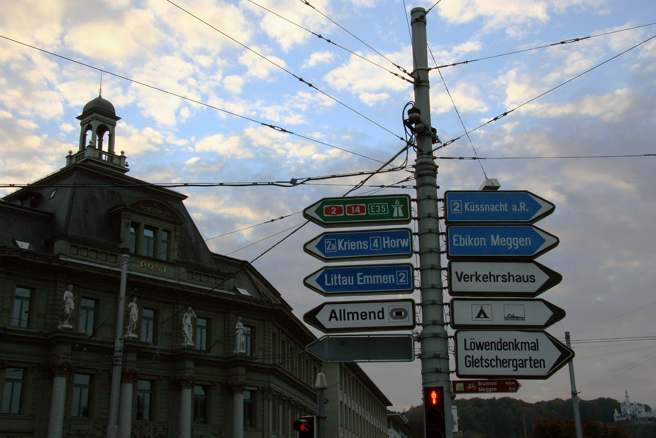 An intersection in Lucerne. Kriens is the town where we started our gondola ride.