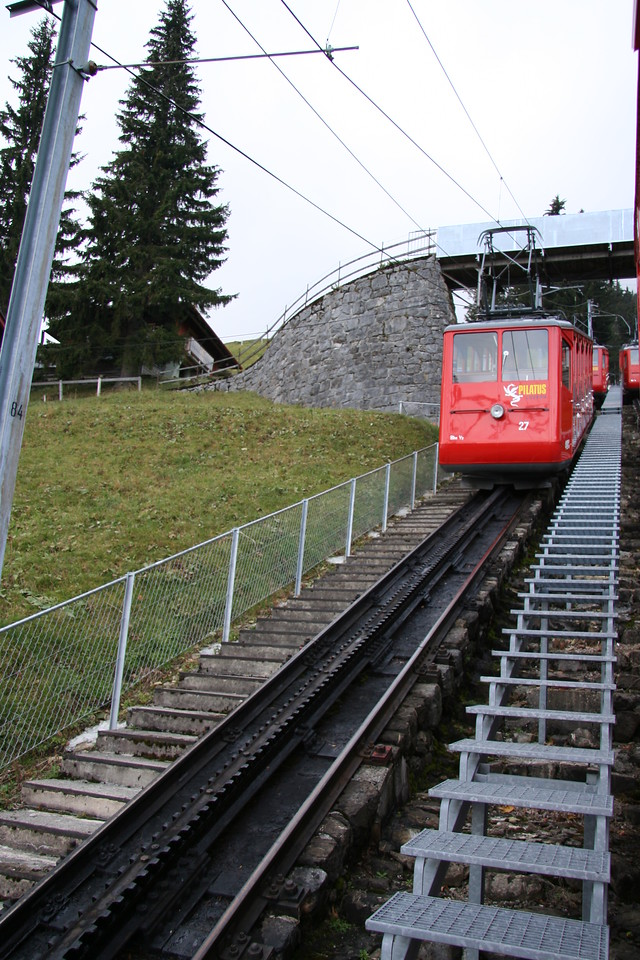 Passing by another tram at a track switchpoint.