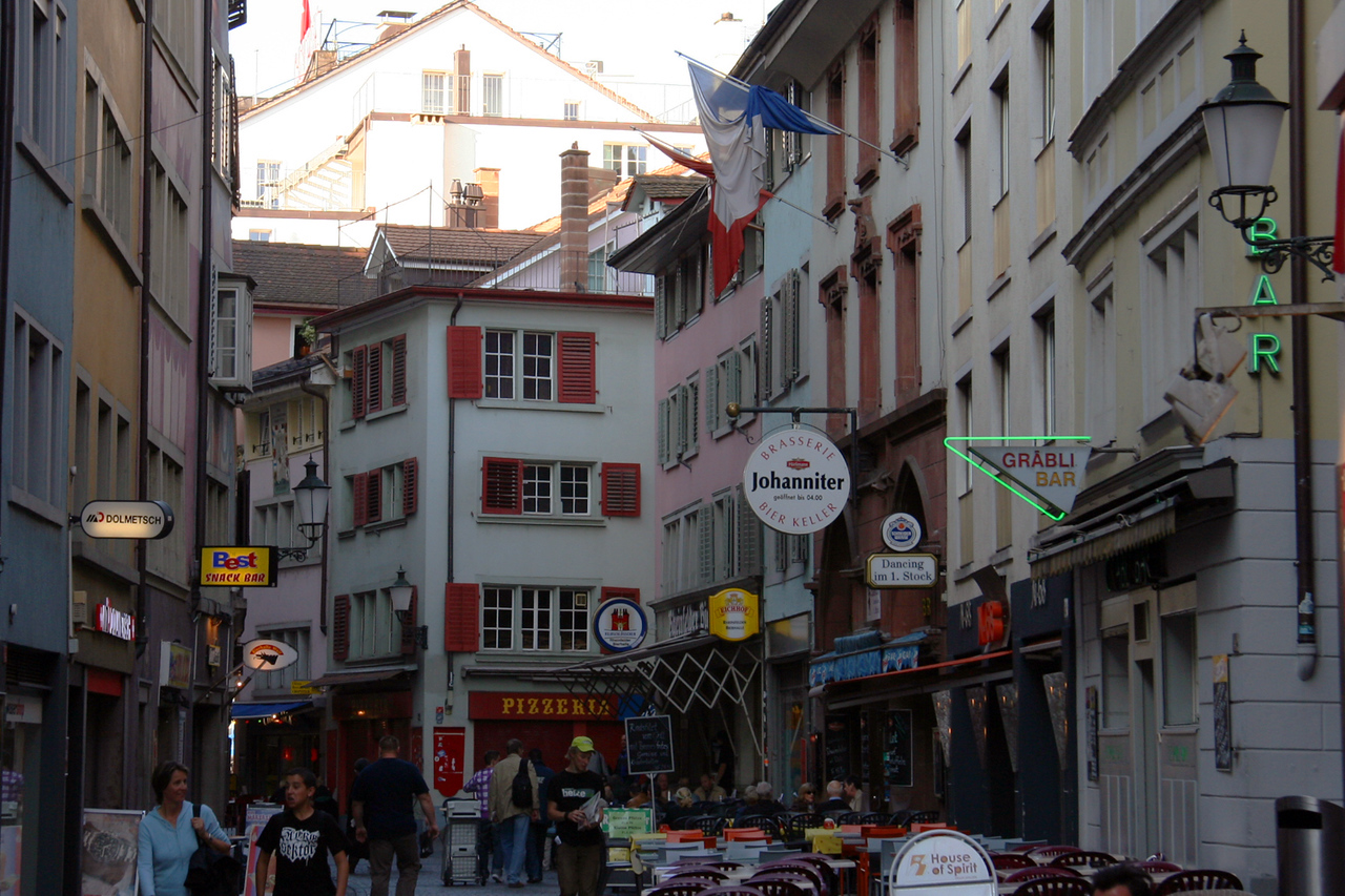 Old town Zurich and its many outdoor cafes. There was a guy selling the most amazing chocolate/banana crepes out of a makeshift tent here.