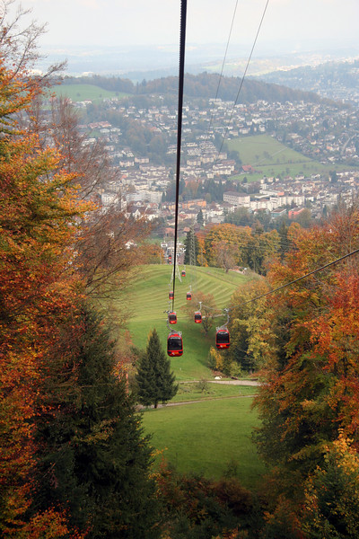 The first of two gondolas up to Mount Pilatus (Dragon Mountain) in Lucerne.