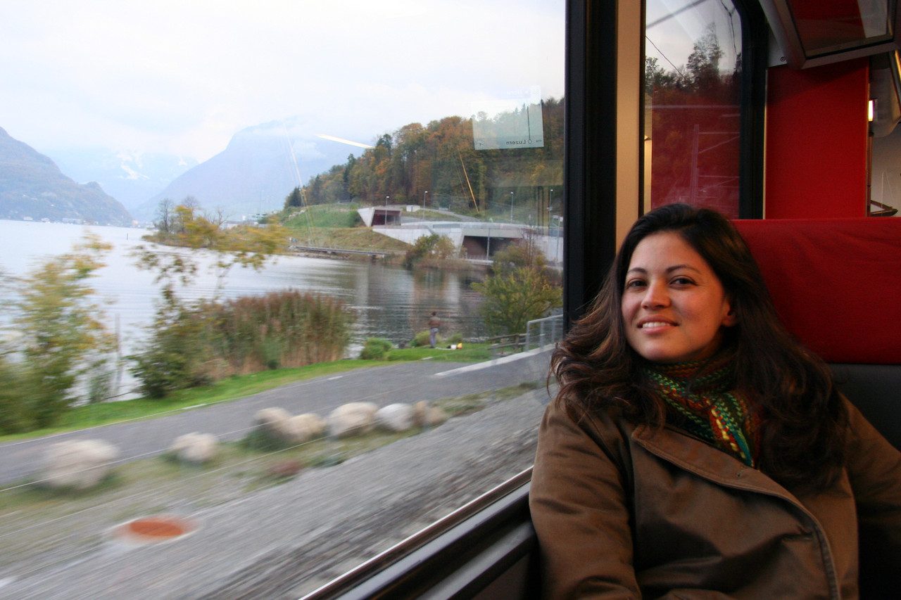 Me riding the train back to Lucerne.