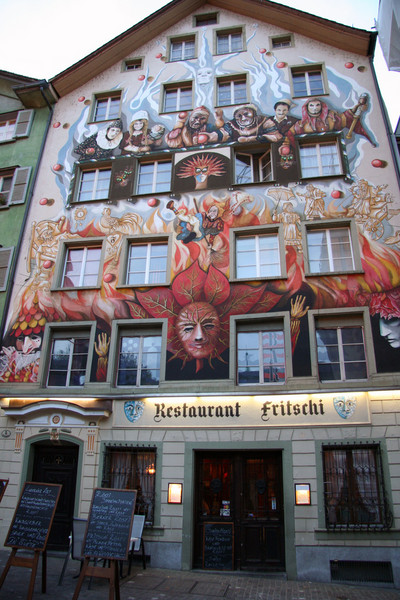 Cool facade on a restaurant in Lucerne.
