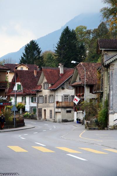 The little town Alpnachstad at the bottom of Mount Pilatus.