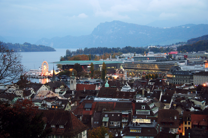 View from what's left of the wall around the city of Lucerne. You could see the carnival set up on the shore from the battlements.