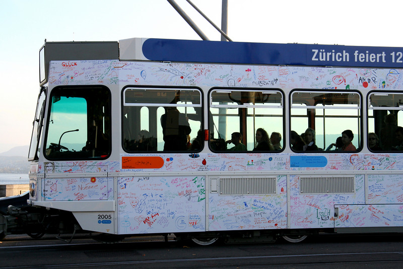 The autographed tram.