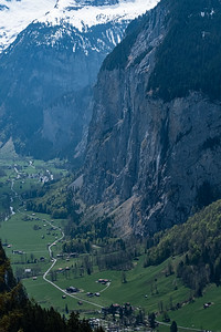 View of the valley floor from the cableway headed for Murren