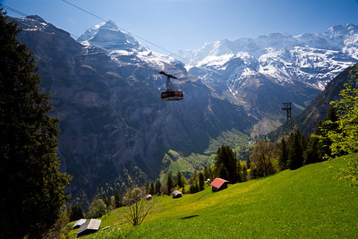 Cable car traveling to Mürren From Gimmelwald Switzerland