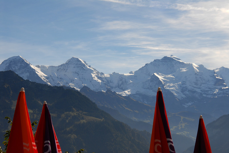 Eiger, Mönch, Jungfrau: from terrace of Harder Kulm mountain restaurant, October 2006.
