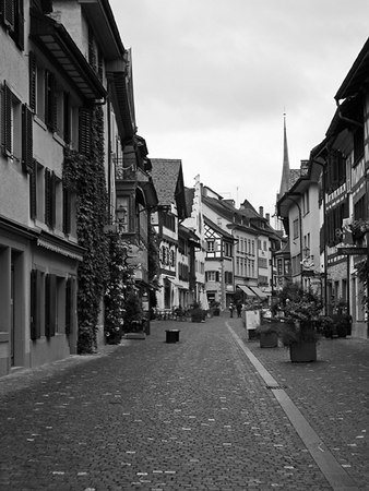 Streets of medieval village, black and white - Switzerland