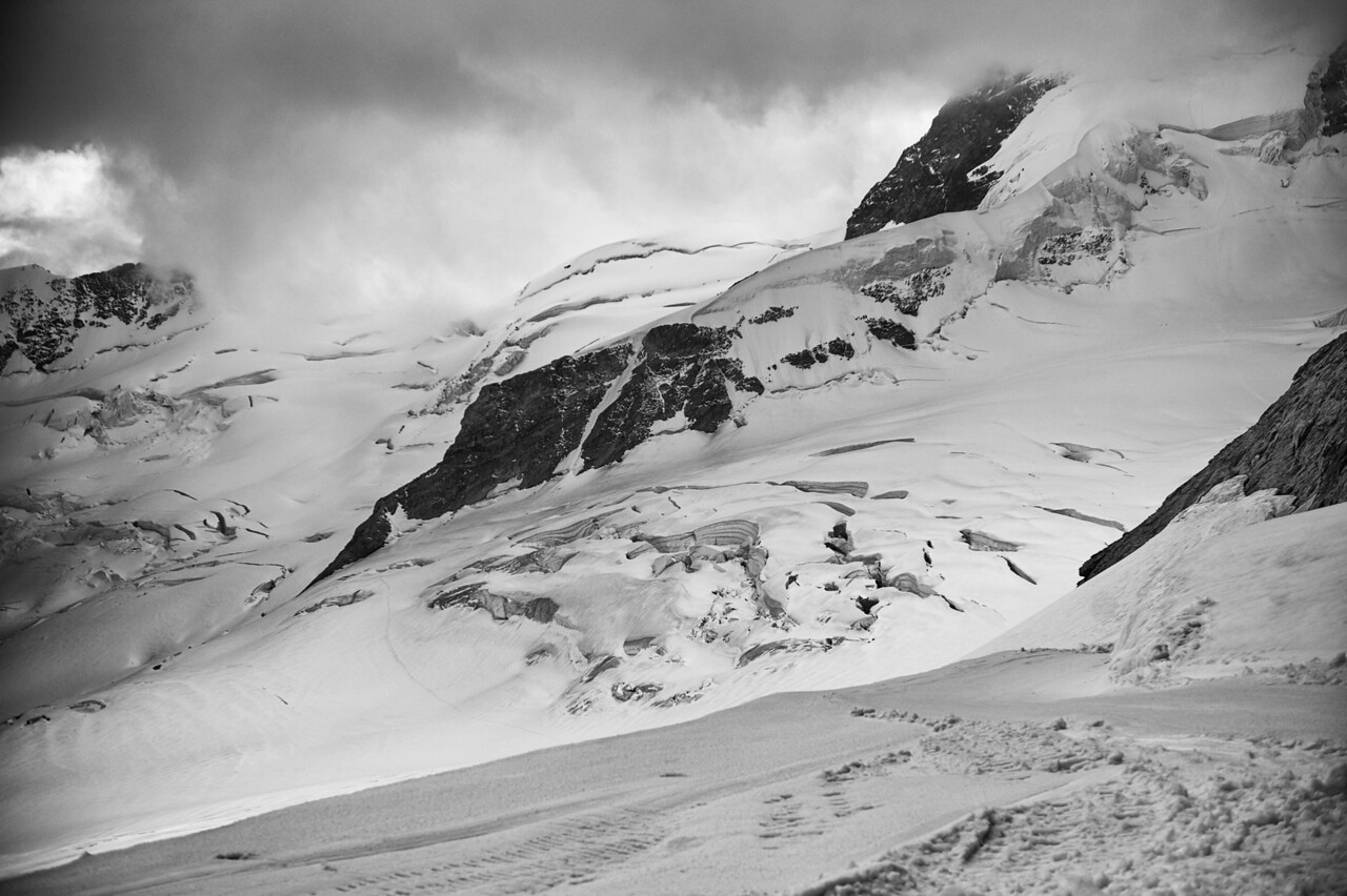 View of the glacier from Jungfrau in Switzerland.