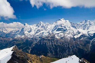 View of the Eiger, Mönch and Jungfrau Schilthorn summit Switzerland