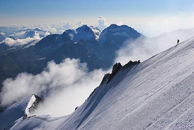 Climber descending Nadelhorn