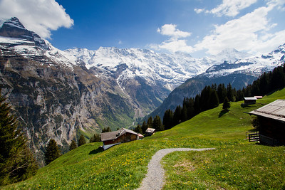 View from hike between Mürren and Gimmelwald Switzerland