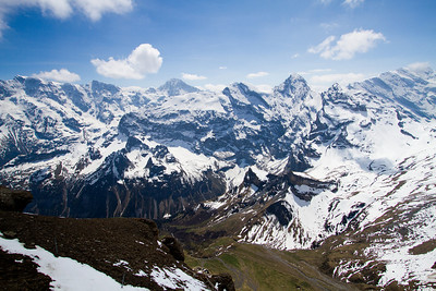 View of the Swiss Alps Schilthorn summit Switzerland