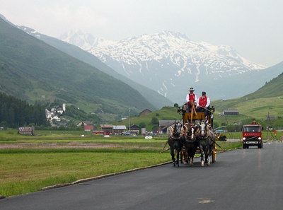 The town of Andermatt still displays the traditional horse drawn fire rescue - Switzerland