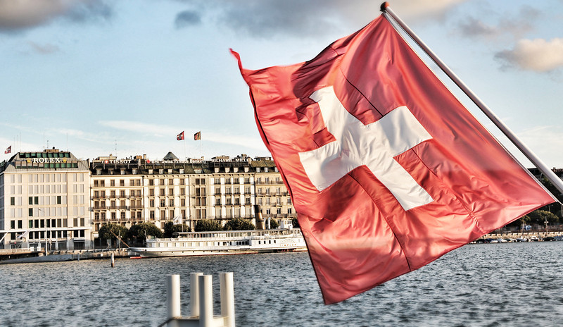 Switzerland is home to luxury brands like Rolex and Tissot. This picture taken around Lake Geneva captures that fact.
