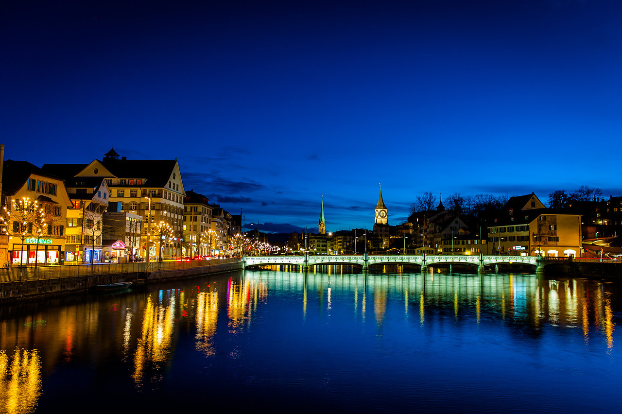 Looking down the river in Zurich.