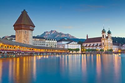 Lucerne. Image of evening cityscape of Lucerne, Switzerland.