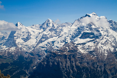 View of the Eiger, Mönch and Jungfrau Schilthorn summit Switzerland