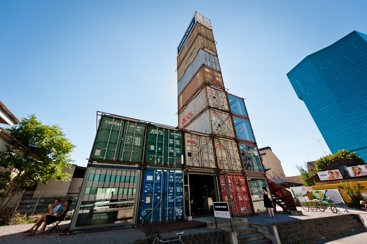 A modern store made from shipping containers in Zurich.