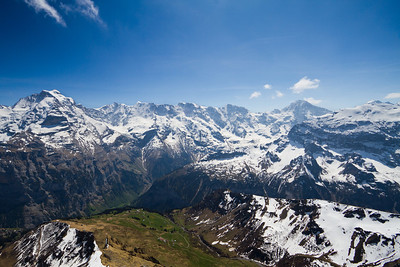View of the Swiss Alps from Birg (intermediate station before Schilthorn summit) Switzerland