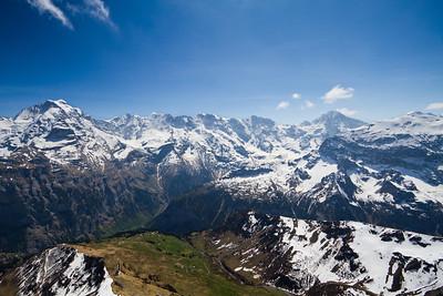 View of the Swiss Alps from Birg (intermediate station before Schilthorn summit) Switzerland