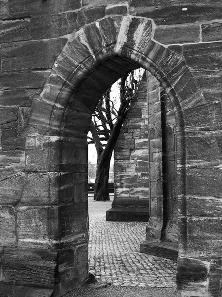 The sandstone arches of the Cathedral - Black and White - Basel - Switzerland