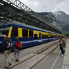 A regional train arrives at Lauterbrunnen Bahn station.