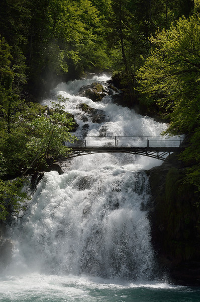 Giessbach Falls entering Lake Brienz.