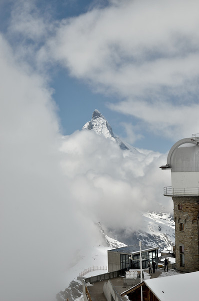 The Matterhorn teases us with a peek on a mostly cloudy day from Gonergrat.