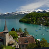 View from atop Spiez Castle overlooking Lake Thun and the Bernese Alps.<br /> May 17, 2012.