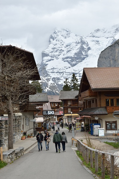 The Jungfrau hangs above the pedestrian-only town of Murren.