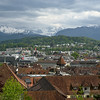 View of Lucerne's rooftops and mountain setting from the Musegg Ramparts - remains of the fortified city walls and defense towers dating from 1350 to 1408.<br /> Tuesday, May 15, 2012