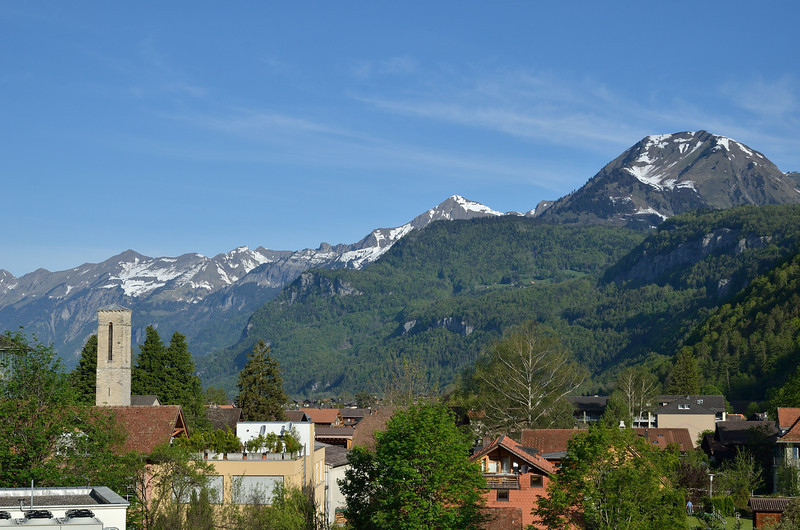 Morning view from our hotel window in Meiringen.<br /> May 11, 2012