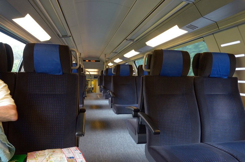 Upper level of second-class railroad car on the SBB.