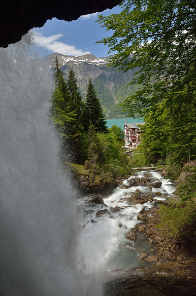 View of the Giessbach Falls Hotel from behind and under the Giessbach waterfall.<br /> Sunday, May 20, 2012