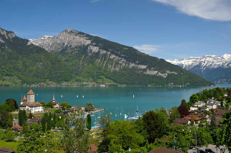 View of Spiez, with Lake Thun and the Bernese Alps.