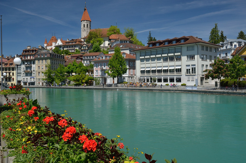 View of old Thun across the Aare River.<br /> May 17, 2012