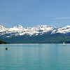 Bernese Alps spread above Lake Thun.<br /> On left are the Eiger, Monch, and Jungfrau.<br /> Thursday May 17, 2012
