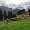 Narrow gauge railway climbs the mountain from Grutschalp to Murren, above the Lauterbrunnen Valley, while some of us hike!<br /> Friday, May 18, 2012