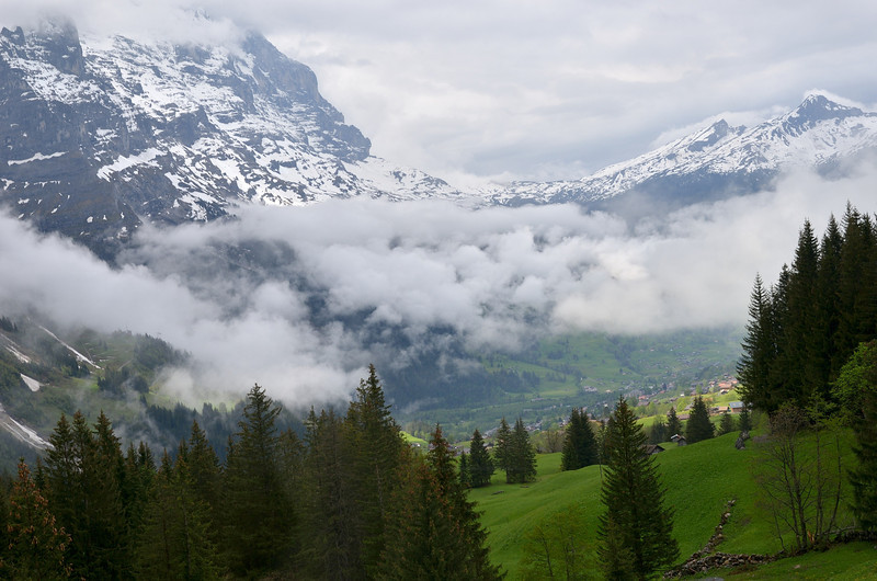 Clouds lifting from the Grindelwald valley.<br /> May 23, 2012