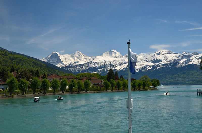 View from the steamboat cruise on Lake Thun (Thunersee)<br />  of the Eiger, Monch, and Jungfrau peaks in the Bernese Alps.<br /> Thursday, May 17, 2012.